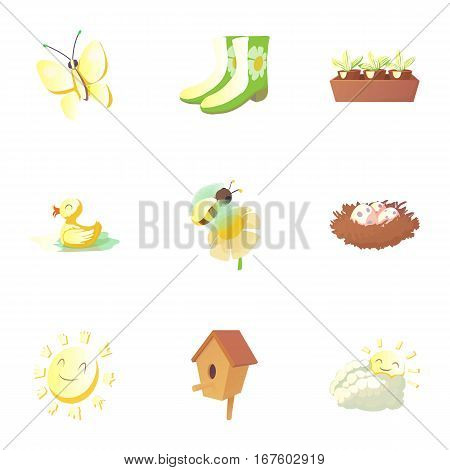 Time of year spring icons set. Cartoon illustration of 9 time of year spring vector icons for web