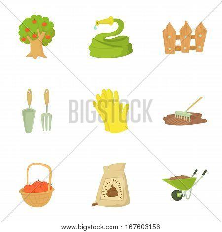 Farming icons set. Cartoon illustration of 9 farming vector icons for web