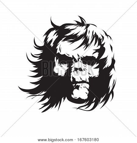 The demon with long hair in black and white versions.. Vector illustration.