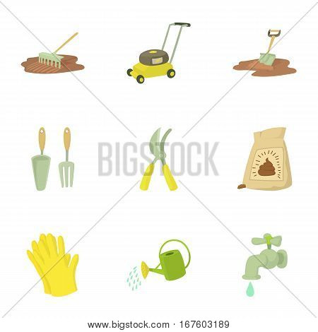 Tending garden icons set. Cartoon illustration of 9 tending garden vector icons for web