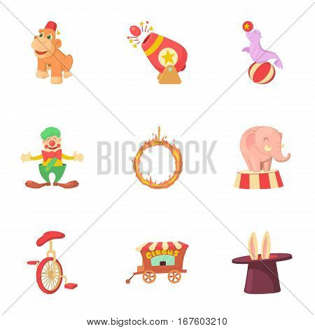 Circus icons set. Cartoon illustration of 9 circus vector icons for web