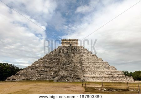 West Side Of The El Castillo Pyramid In Chichen Itza