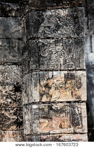 Carved Column At The Temple Of A Thousand Warriors