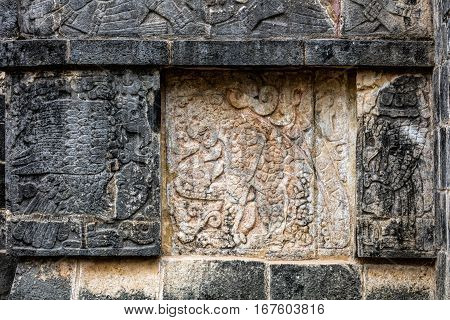 Ancient Mayan Murals On The Platform Of The Eagles And The Jagua