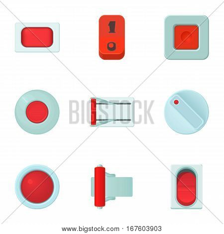Click button icons set. Cartoon illustration of 9 click button vector icons for web