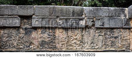 Ancient Mayan Mural Depicting An Eagle Grasping A Human Heart