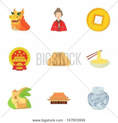 Stay in China icons set. Cartoon illustration of 9 stay in China vector icons for web