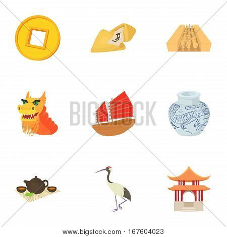 Tourism in China icons set. Cartoon illustration of 9 tourism in China vector icons for web