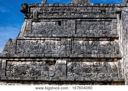 Facade Of The Osario Pyramid In Chichen Itza