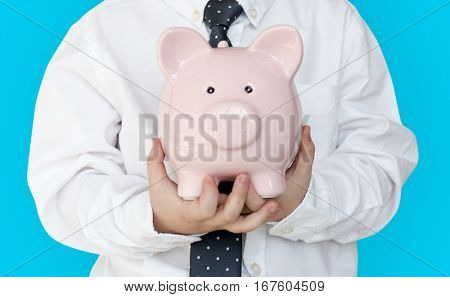 Kid Studio Shoot Gesture Piggybank Holding