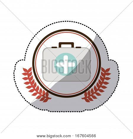 color sticker with first aid kit with symbol cross in circle with olive branches vector illustration