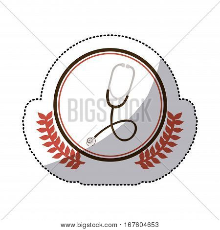 color sticker with stethoscope in circle with olive branches vector illustration