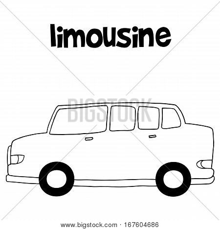 Limousine car with hand draw vector illustration