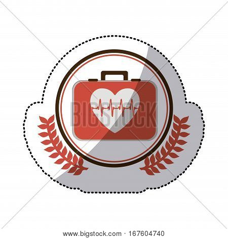 color sticker with first aid kit with symbol line of vital sign in heart inside circle with olive branches vector illustration