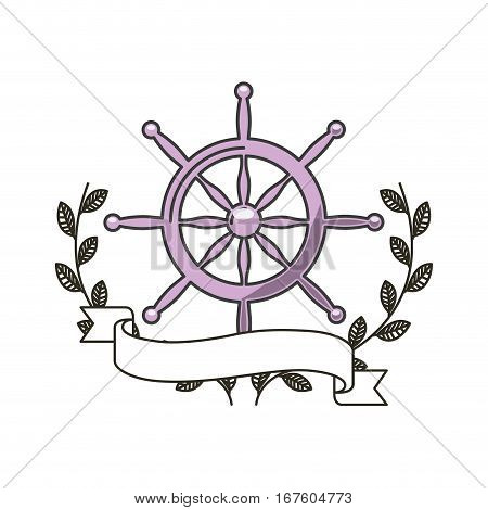 rudder icon with decorative wreath of leaves and ribbon over white background. colorful design. vector illustration