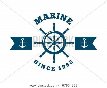 marine emblem with rudder and anchors icon over white background. colorful design. vector illustration