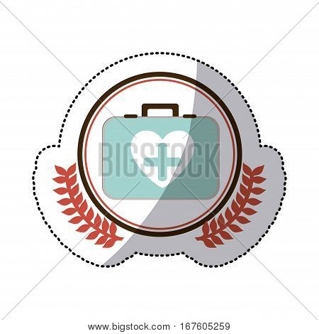 color sticker with firts aid kit with symbol cross in heart in circle with olive branches vector illustration