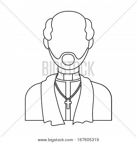 Priest icon in outline design isolated on white background. Funeral ceremony symbol stock vector illustration. - stock vector