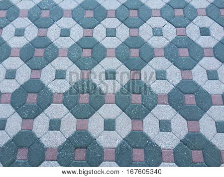 A design of bricks on the ground