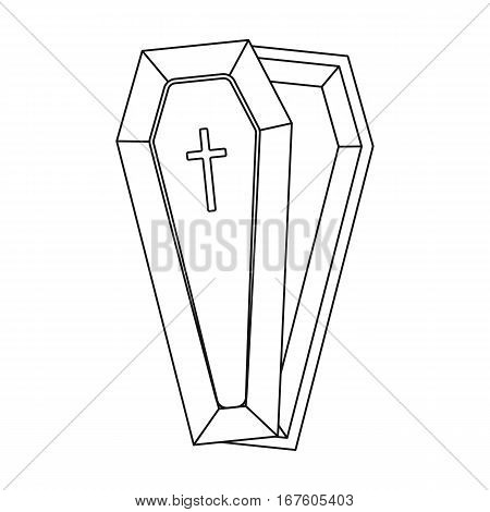 Coffin icon in outline design isolated on white background. Funeral ceremony symbol stock vector illustration. - stock vector