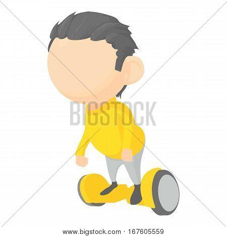 Boy on segway icon. Cartoon illustration of boy on segway vector icon for web