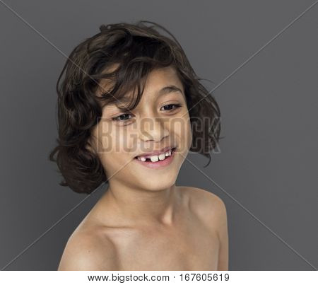 Little Boy Smiling Happiness Bare Chest Portrait
