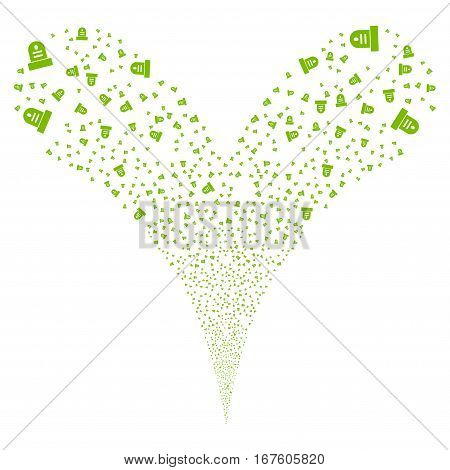 Grave fireworks stream. Vector illustration style is flat eco green iconic symbols on a white background. Object double fountain organized from random icons.