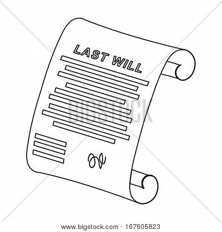 Last will icon in outline design isolated on white background. Funeral ceremony symbol stock vector illustration. - stock vector