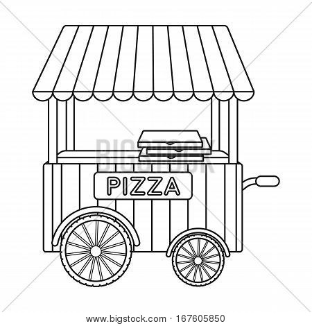 Pizza cart icon in outline style isolated on white background. Pizza and pizzeria symbol vector illustration. - stock vector