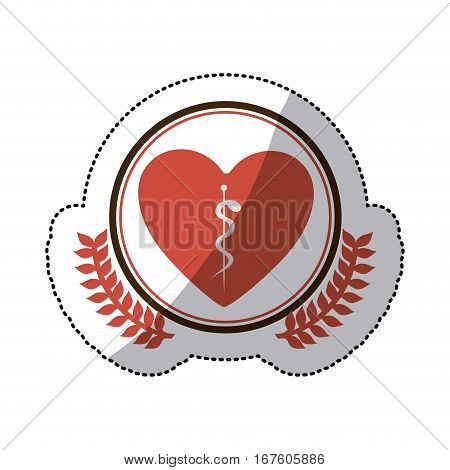 color sticker of heart with health symbol with serpent entwined in circle with olive branches vector illustration