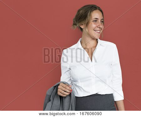 Business Woman Smiling Cheerful Concept