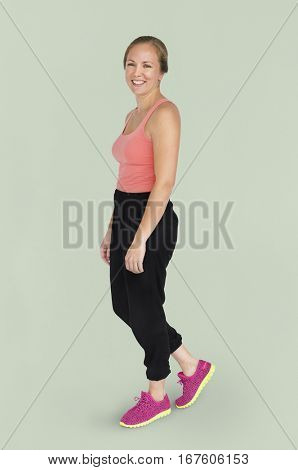 Caucasian Lady Sports Wear Smiling