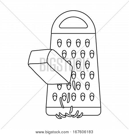 Grating cheese icon in outline style isolated on white background. Pizza and pizzeria symbol vector illustration. - stock vector