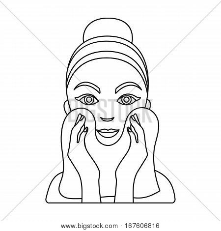 Cleaning of face skin icon in outline style isolated on white background. Skin care symbol vector illustration. - stock vector
