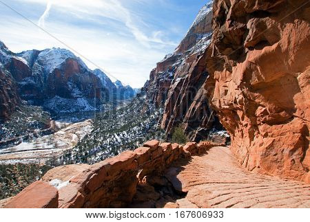 Angels Landing Hiking Trail in the winter high above the Virgin River canyon in Zion National Park in Utah USA