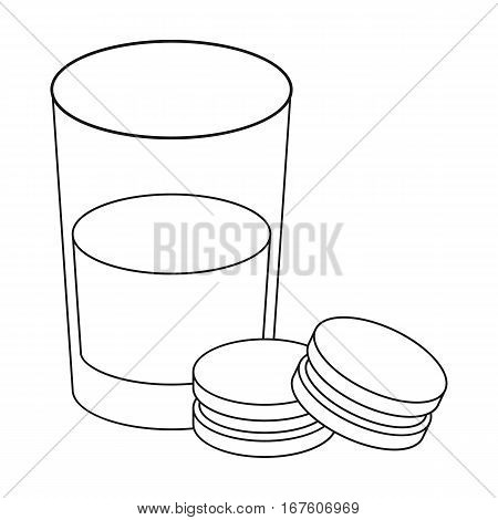 Glass of milk with cookies icon in outline design isolated on white background. Sleep and rest symbol stock vector illustration. - stock vector