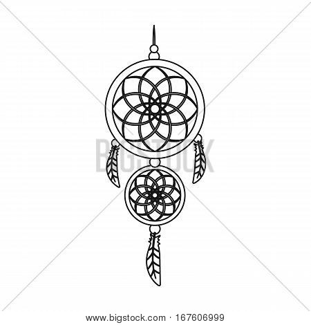 Dreamcatcher icon in outline design isolated on white background. Sleep and rest symbol stock vector illustration. - stock vector