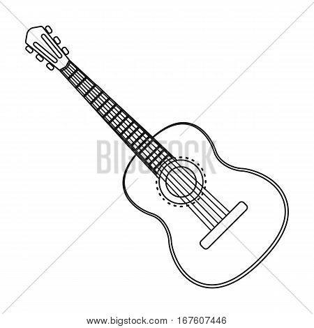 Spanish acoustic guitar icon in outline design isolated on white background. Spain country symbol stock vector illustration. - stock vector