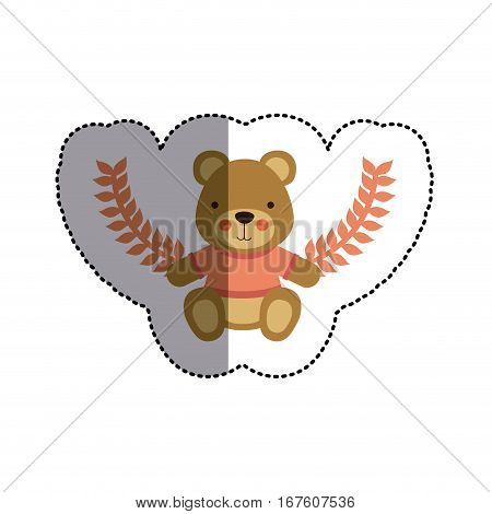 color sticker with teddy bear with t-shirt and olive branches and middle shadow vector illustration