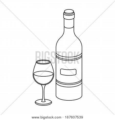 Spanish wine bottle with glass icon in outline design isolated on white background. Spain country symbol stock vector illustration. - stock vector