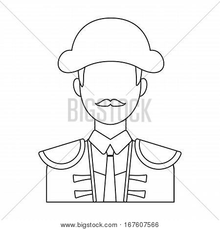 Matador icon in outline design isolated on white background. Spain country symbol stock vector illustration. - stock vector