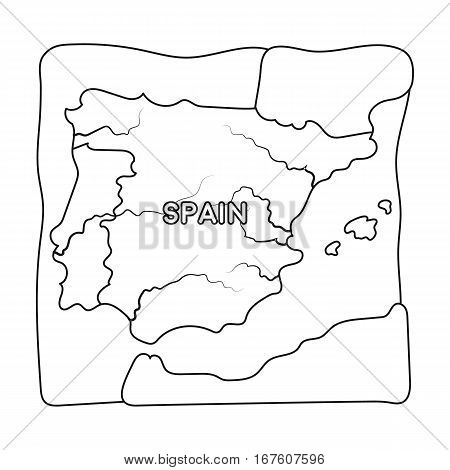 Territory of Spain icon in outline design isolated on white background. Spain country symbol stock vector illustration. - stock vector