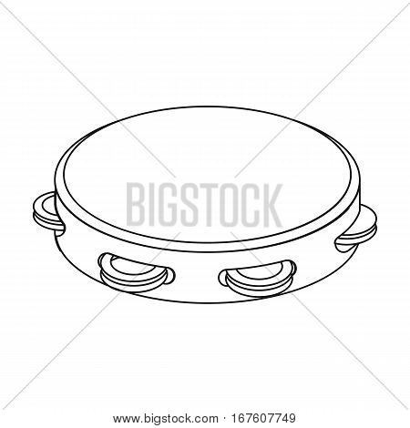Tambourine icon in outline design isolated on white background. Spain country symbol stock vector illustration. - stock vector