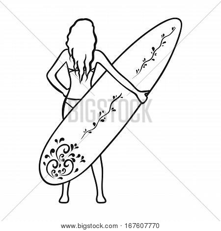 Girl is holding a surfboard icon in outline design isolated on white background. Surfing symbol stock vector illustration. - stock vector