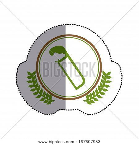 color sticker circle with hacksaw and olive branches and middle shadow vector illustration