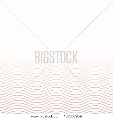 Wavy vector ornament. Modern background. Geometric pattern with repeating pink wavy lines