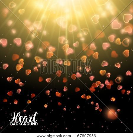 Valentines Day with Bokeh Falling Effect Hearts and Confetti. De focused and glittering separated elements. Vector Illustration on black background.