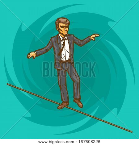 Manager or businessman is balancing on a tightrope like a ropewalker.Vector illustration.