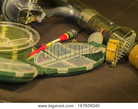 The fishing rod, fishing line, float and sinker