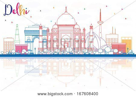 Outline Delhi Skyline with Color Buildings and Reflections. Business Travel and Tourism Concept with Historic Buildings. Image for Presentation Banner Placard and Web Site.